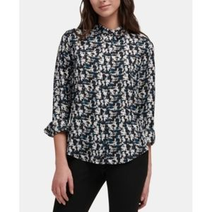DKNY Abstract Print Collared Button Down Shirt